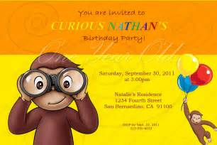 curious george birthday invitation template curious george invitation