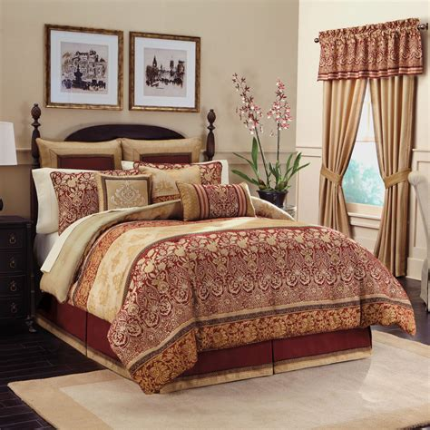 Curtains For Canopy Bed golden red long curtains combined with cream red comforter