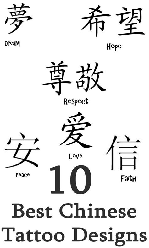 chinese characters tattoo designs collection of 25 characters design