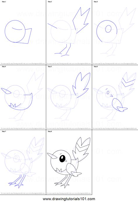 how to drqw how to draw fletchling from printable step by step
