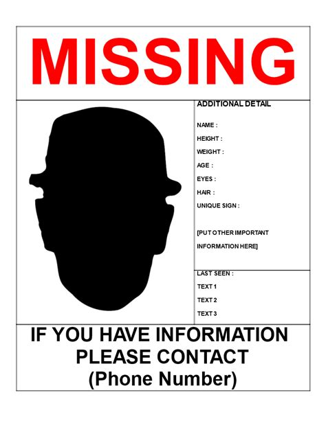 Missing Person Template Letter Size Download This Missing Person Poster Template If You Are Missing Person Template