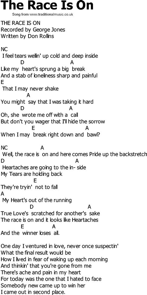 the song country song lyrics with chords the race is on