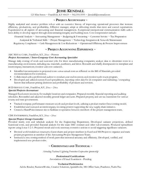 project accountant cover letter exle project accountant resume free sle