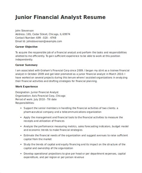 free resume sles financial analyst financial analyst resume 10 pdf word documents