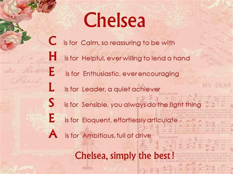 chelsea meaning acrostic name poems for girls january 2012