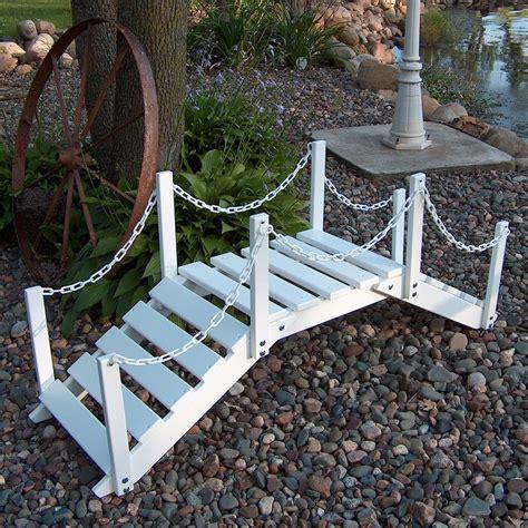 how to make a garden bridge shop prairie leisure design 4 33 ft satin white north american hardwood garden bridge at lowes com