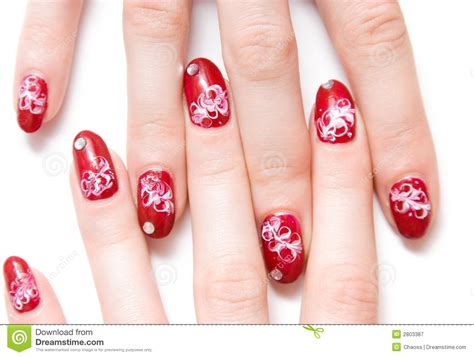 Decorated Nails by Fingers With Decorated Nails Royalty Free Stock