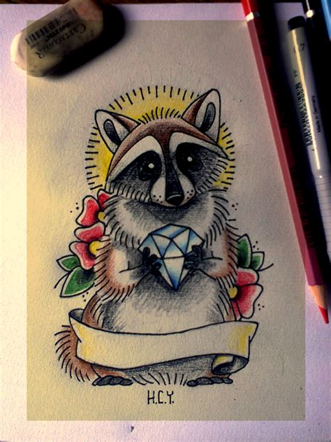 raccoon tattoos designs school raccoon by hellacalla on deviantart
