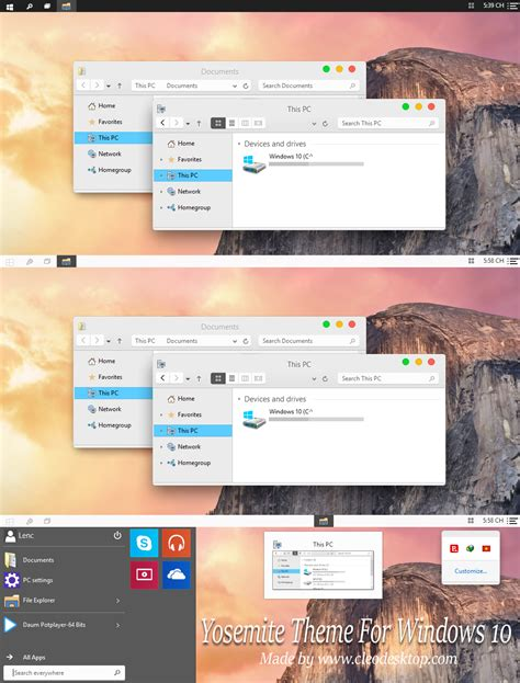 themes yosemite os x yosemite theme for windows 10 technical preview
