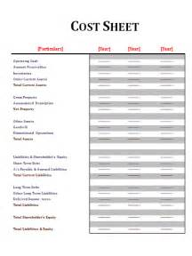 Product Costing Sheet Template by Cost Sheet Template Free Sheet Templates