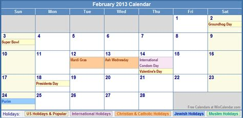 Feb 2013 Calendar February 2013 Calendar With Holidays As Picture
