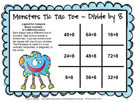 multiplication and division printable board games fun games 4 learning monster math games makeover