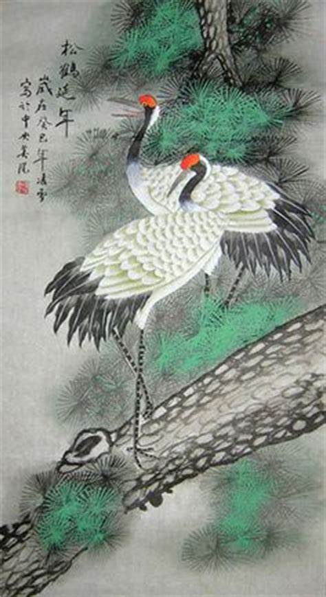 crane painting antique vintage japanese painting crane in