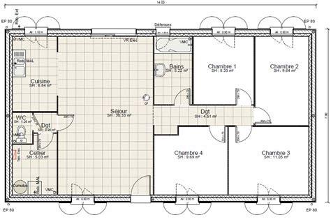 plan maison 4 chambres 騁age plan dune maison plain pied 4 chambres maison moderne
