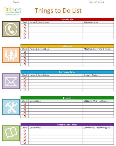 Things To Do List Template Excel to do list template business version dotxes