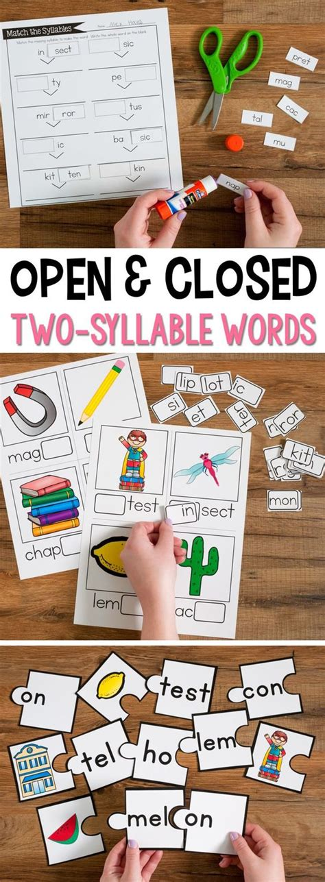 vcv pattern games open syllables closed syllables for two syllable words