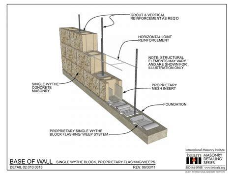 02.010.0313: Base of Wall   Single Wythe Block
