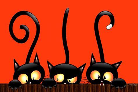 imagenes halloween gato tres gatos negros en la noche de halloween 71170