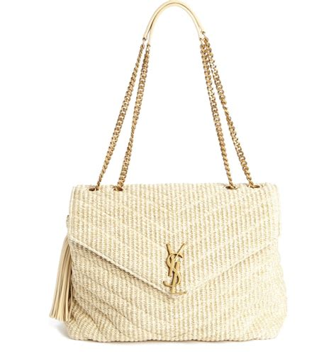 saint laurent medium monogram straw shoulder bag nordstrom