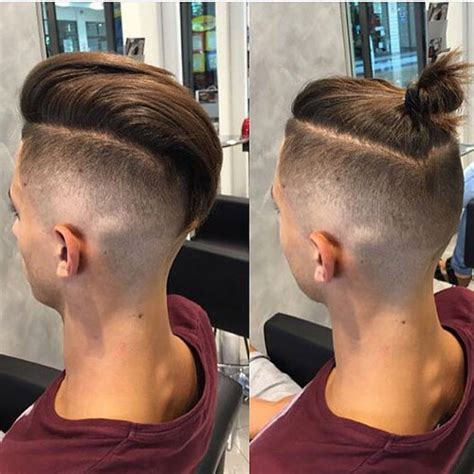 top knot hairstyle men undercut top knot