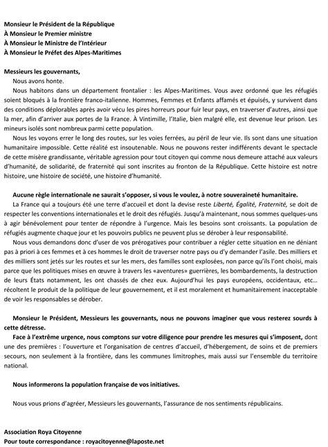 Réfugiés : la lettre du Président de la République . - ADN