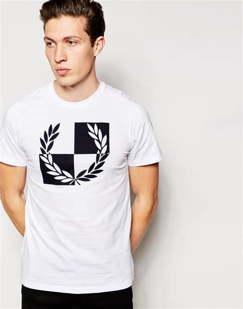 Fred Perry T Shirt fred perry t shirt with checkerboard laurel in white for