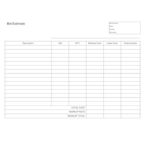 estimates templates bid estimate template