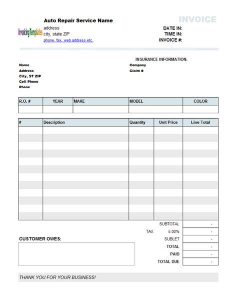 auto repair invoice template sample free download pdf excel