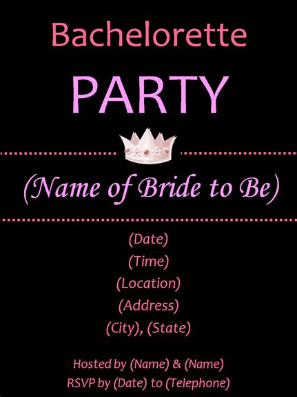 bachelorette invitations free template bachelorette invitations template best template collection