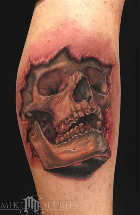 skin rip tattoo ripped skin 3d skull in on leg