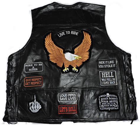 biker waistcoat black leather biker vest 15 patches waistcoat gift biker