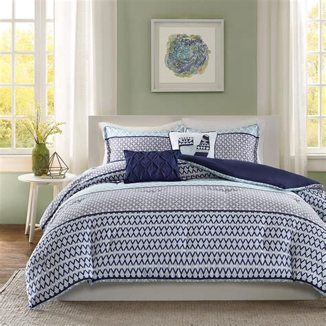 geometric comforters beautiful blue stripes geometric design comforter set full