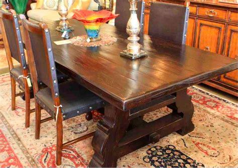 reclaimed wood spanish trestle dining table