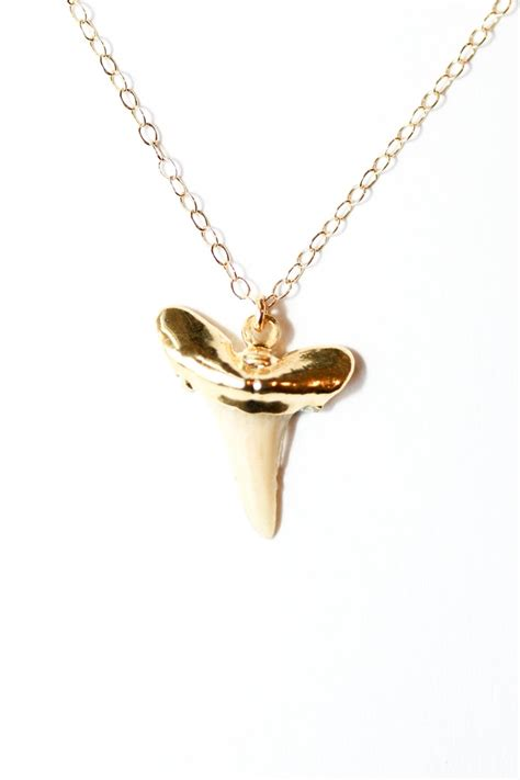 gold shark tooth necklace nautical jewelry edgy gold