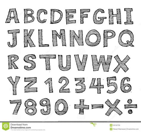 real hand drawn letters font written    stock