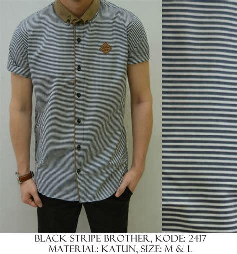 Kemeja Kantong Stripe baju distro baju kemeja black stripe shirostore baju distro baju kemeja