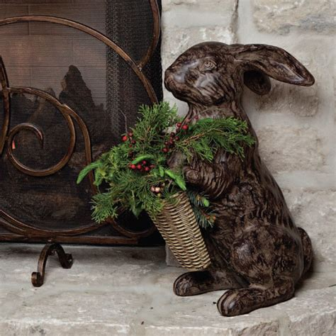rabbit home decor cast stone rabbit brown traditional home decor