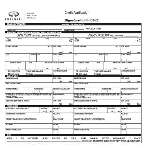 Auto Loan Credit Application Form Template 15 Credit Application Templates Free Sle Exle Format Free Premium Templates