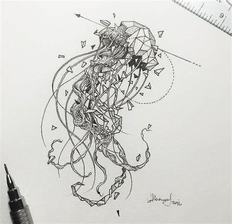 geometric tattoo jellyfish the 25 best ideas about jellyfish tattoo on pinterest