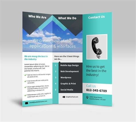tri fold brochure template photoshop 40 professional free tri fold brochure templates word