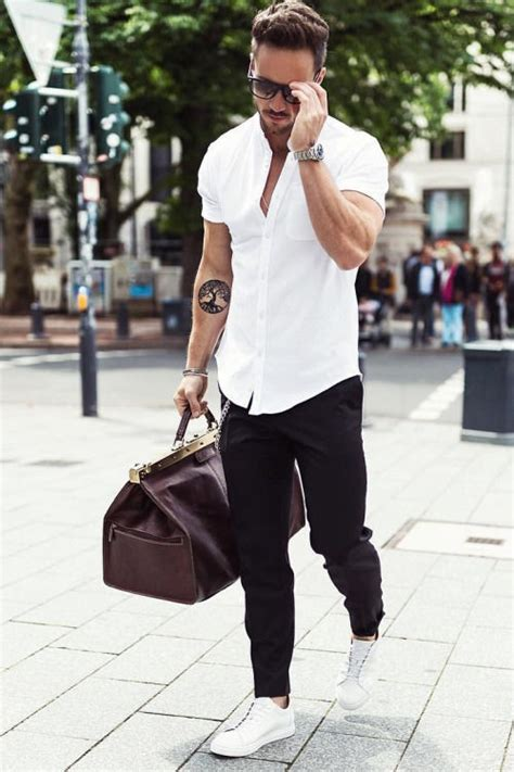white shirt with black and white shoes pictures