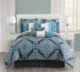 10 pc grey teal blue floral embroidery comforter set