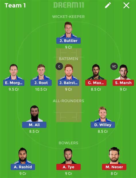 eng vs aus 2nd odi match dream11 cricket team