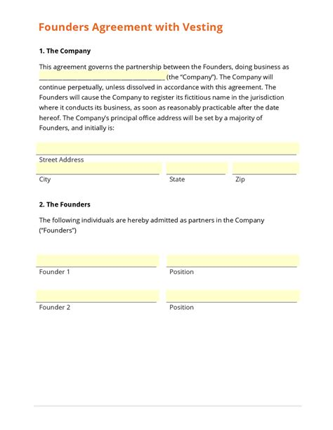 founders agreement template business form template gallery