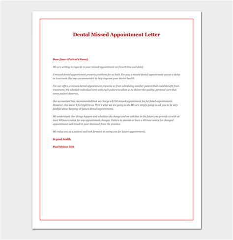 change of appointment letter template missed appointment letter 10 sle letters