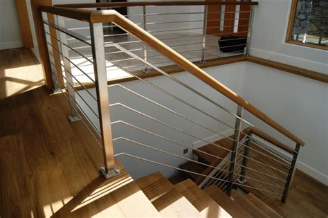 Oak & Stainless Steel Interior Railing   Contemporary