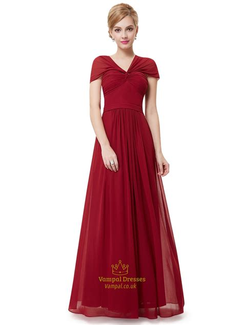 V Neck Chiffon Dress burgundy v neck chiffon floor length bridesmaid dresses