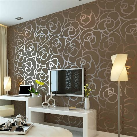 background wall modern velvet wallpaper gold roses for