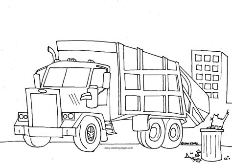 coloring page of trash truck big rig coloring pages az coloring pages