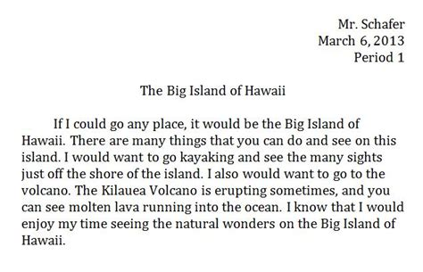 Essay About Hawaii by Vacation Middle School Computer Projects